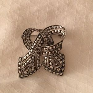 Vintage Marcasite Bow Pin Rhodium Finish